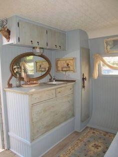 vintage trailers, vintage trailer interior, blue, custom camper, deer heads, travel trailers, vintage camper interiors, shabby chic interiors, vintage campers