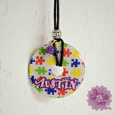 Personalized Autism Awareness Washer Necklace, Autism, Autism Awareness, Puzzle Piece