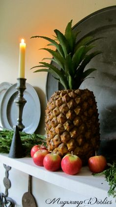 Pewter  Pineapple pineappl, countri decor, coloni decor, mantl