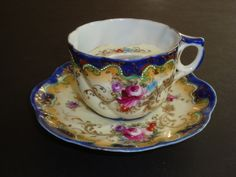 Antique Hand Painted Nippon Roses Asters Moustache Cup with Saucer |