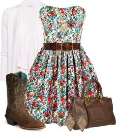 I love this country outfit :) flowery dress, cowgirl boots, belt and white cardigan  