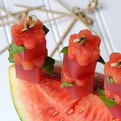 Watermelon Basil Martini Jelly Shots