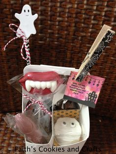 "Monster Snack Pack for Teachers Halloween treat. #straw, #twine, #box from #PYP. Includes mummy oreo cookie, candy fangs, candy witch pretzel, caramel apple soda and homemade mini pumpkin chocolate chip bread. Tag reads ""When you feel hunger attack, please enjoy this monster snack pack""."
