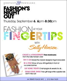 "Join Greenwich Jewelers & Sally Hansen for a ""Fashion at Your Fingertips"" #FingerParty on #FNO"