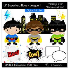Digital clip art for Super Hero Party!
