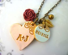 Family Necklace idea using cold porcelain clay (a diy clay you can google recipe for)