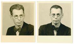 Studio portraits of Joseph Landman taken before and after his incarceration in Dachau on Kristallnacht. 1938.