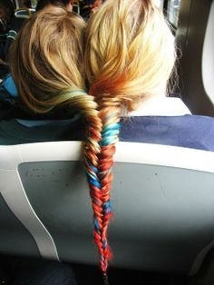 friends braid with colors
