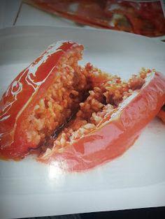 Pimientos rellenos de arroz y carne