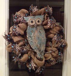 Owl Leopard Accent Burlap Wreath on Etsy, $50.00
