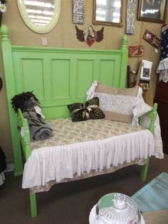 $325 - This vintage bench is made from bed pieces and has a crib mattress seat with cover and matching full size pillow! It's painted a beautiful spring green and would make a unique addition to any home!  ***** In Booth D8 at Main Street Antique Mall 7260 E Main St (east of Power RD on MAIN STREET) Mesa Az 85207 **** Open 7 days a week 10:00AM-5:30PM **** Call for more information 480 924 1122 **** We Accept cash, debit, VISA, MasterCard or Discover.