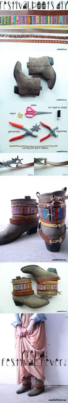 Festival boots diy van oude riemen! Tutorial: www.confetticircus.nl #diy #festivalfever #festival #hippie #festbest #confetticircus