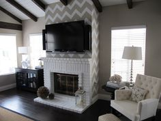 chevron room ideas | Remodelaholic | Home Sweet Home on a Budget: Living with Television