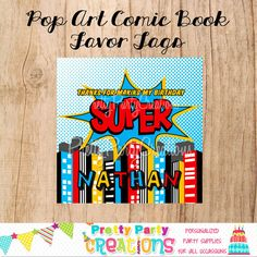Pop Art COMIC BOOK Superhero favor tags  by PrettyPartyCreations, $6.25