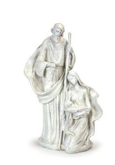 Holy Family Figurine #Jesus #Joseph #Mary #white #glitter