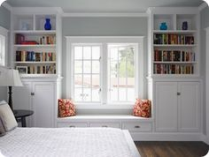 Built in book shelves and window seat