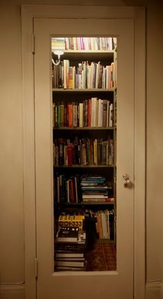 closet library. put up shelves, cut out front of door and put glass.