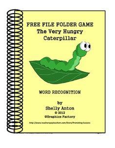 FREE File Folder Game Hungry Caterpillar - Promoting Success - TeachersPayTeachers.com