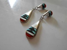VTG ZUNI HALLMARKED TURQUOISE MOP CORAL STERLING SILVER DANGLE EARRINGS $50.00 Buy it Now.