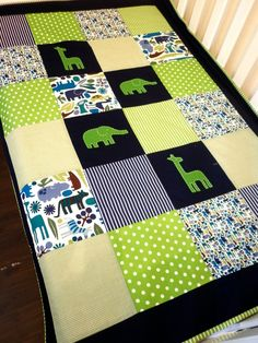 Zoo animal Baby boy Crib Quilt and Pillow by: AlphabetMonkey on Etsy