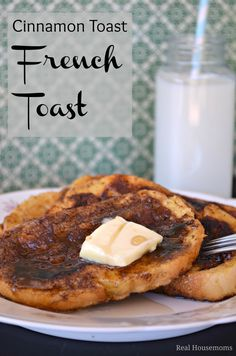 "Cinnamon Toast French Toast | Real Housemoms | #breakfast #frenchtoast #cinnamontoast Ingredients      1 french bread baguette, ½"" slices, allowed to sit on counter for an hour or two     8 eggs     1 c milk     2 tsp vanilla     ⅓ c brown sugar, packed     1 T cinnamon     butter or cooking spray"