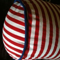 I made a neck roll (bolster) pillow!! + loving the nautical feel that it gives!
