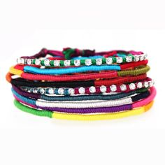 rhinestone friendship bracelets #etsy #jewelry #homemade #tribal #colors #colorful #stacked #layered #bracelets #crystal