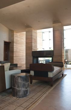Rammed earth columns and wall