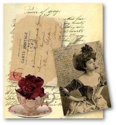 Antique Photo and Vintage French Ephemera Tags Digital Collage Sheet Scrapbooking Supplies Set No.412.