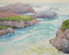 Pacific Inlet  23 x 17 robin purcell , watercolors in the plein air tradition