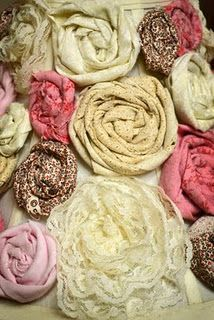 how to make fabric flowers! another good way to use clothing that's too old or stained to donate. baby girls clothes, fabric roses, burlap flowers, fabric flowers, cloth flowers, material flowers, flower tutorial, craft ideas, fabric sewing
