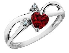 Ruby Heart Ring with Diamonds 1/2 Carat (ctw) in 10K White Gold