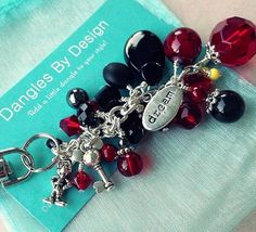 Disney Mickey Mouse purse keychain FOB jewelry black and red on Etsy, $12.50