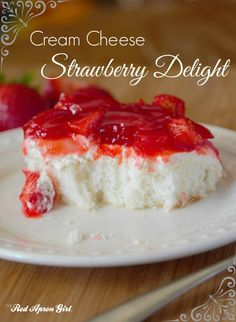 Cream Cheese Strawberry Delight, this is the best cake! I get asked for recipe any time I bring it anywhere