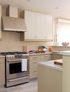 Beige kitchen.  Love Penny Tile