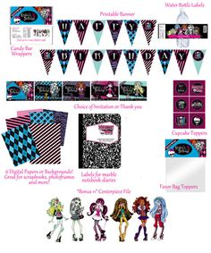 monster high birthday, birthday packag, birthday parties, high parti, digit print, monsters, digital prints, parti idea, monster high party