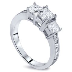 1.50CT Princess Cut 3 Stone Diamond Engagement Ring by Pompeii3, $1299.99