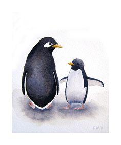 Penguin Art - Momma and Baby Penguin -Signed Art Print - penquin watercolor nursery art on Etsy, $20.00