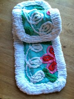 Vintage chenille used for baby burp cloths!
