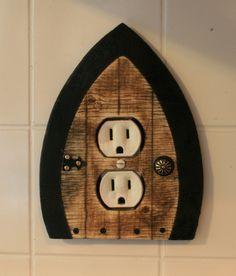 Faerie Door, Fairy Door, Gnome doors, Elf Doors, Hobbit Doors outlet/wall plug cover.. $15.00, via Etsy. for Erin