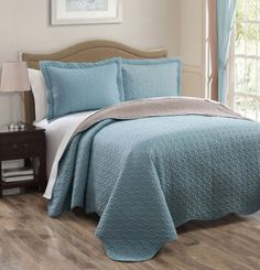 Repin if you like this Spa Blue/Taupe Reversible Bedspread/Quilt Set King