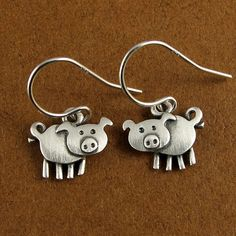 Pig earrings by StickManJewelry on Etsy, $33.00