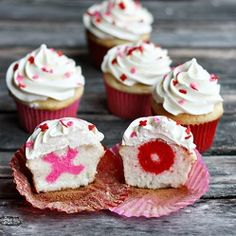 Surprise Valentine's Day Cupcakes by Not Your Momma's Cookie    http://notyourmommascookie.com/2013/02/surprise-valentine-cupcakes/#