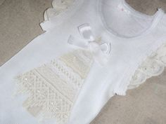 Girls Christmas Tshirt Top SInglet Luxe Lace Made to Order in Sizes 000 - 2yrs White and cream Lace Christmas Tree, Lace Sleeves, Ribbon Bow on Etsy, $17.22