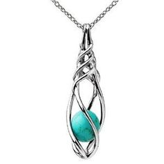 Ze Sterling Silver Caged Turquoise Bead Dangle Pendant