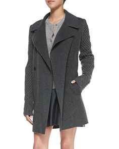 Sweater-Sleeve Felt Coat, Heather Gray by Vince at Neiman Marcus.
