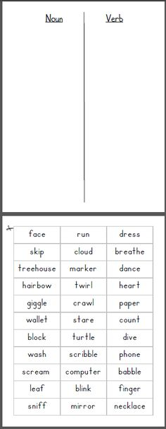 Noun/Verb Sort. Can change it up to long/short vowel sort... or a lot of other language art concepts.