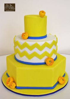 Not crazy about neon yellow but cute chevron cake