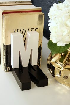 Fabric Paper Glue | DIY Shadow Monogram Bookends by fabricpaperglue, via Flickr
