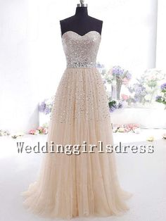 Ball Gown Champagne Strapless Sweetheart Beadings Train Prom Dress Evening Dress Homecoming Dress Party Dress Cocktail Dress Wedding Dress on Etsy, $168.00